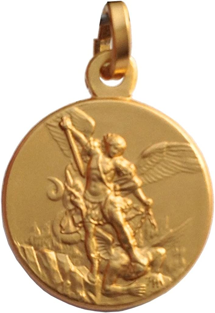 Medalla de San Miguel Arcángel en Plata de Ley 925 - Chapado en Oro: Amazon.es: Joyería