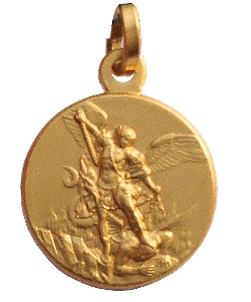 Médaille de Saint Michel Archange en Argent 925 Plaqué Or Igj mr155or
