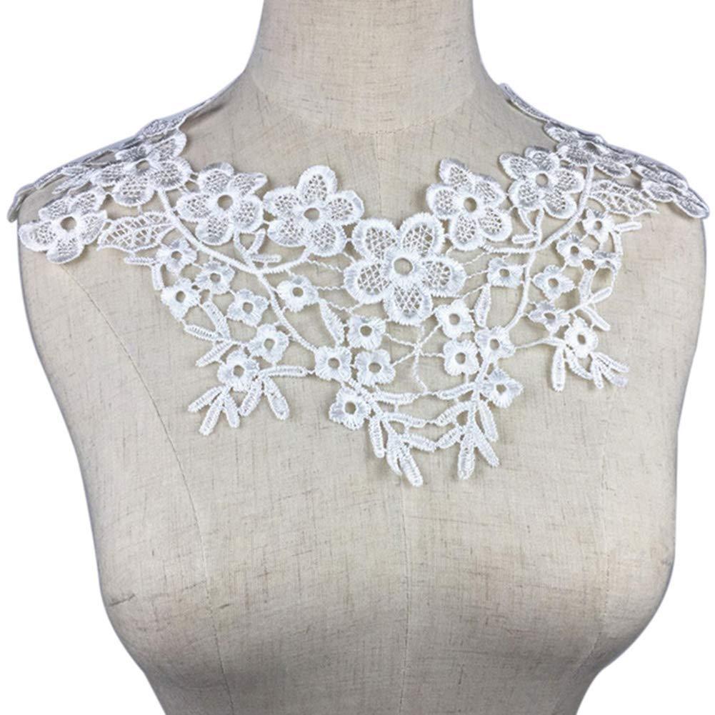 Ogquaton /Encaje Bordado Tela Adornos Florales Ciruela Flor Parche de Costura Escote Apliques Blanco Pr/áctico y Popular