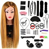 Styling Head Neverland Beauty 24 Inch 60% Real Human Hair Hairdressing Training Head Practice Mannequin Head With Free Clamp + Hair Styling Braid Set(Brown)