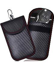 2 PACK Kleine Faraday Zak voor Autosleutels, Autosleutelsignaal Blokkeerzak voor Auto, RFID-Sleutelzak Faraday Tas voor Sleutelloze Auto