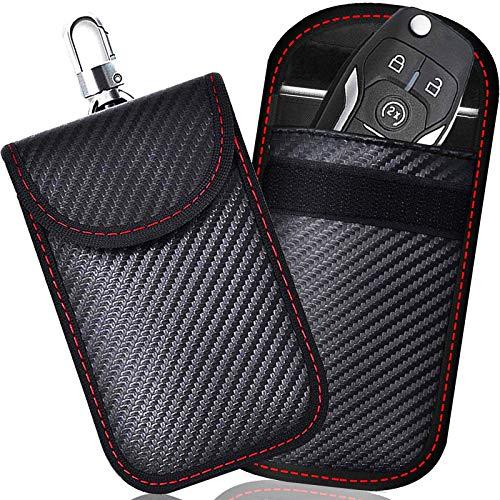 2 PACK Kleine Faraday Zak voor Autosleutels, Autosleutelsignaal Blokkeerzak voor Auto, RFID-Sleutelzak Faraday Tas voor…
