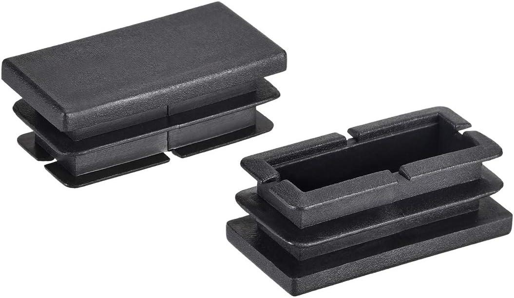 uxcell 40mm x 20mm Rectangle PP End Cap Desk Chair Furniture Leg Foot Cover Insert Black 20 Pcs