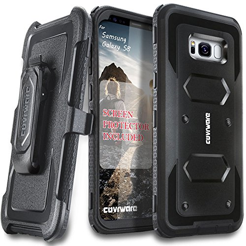 Samsung Galaxy S8 Case, [Aegis Series] + Full-Coverage Screen Protector, Heavy Duty Rugged Full-Body Armor Holster Case [Belt Swivel Clip][Kickstand] for Samsung Galaxy S8, Black