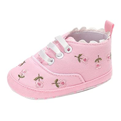 e73ba4a806aab wuayi Newborn Baby Girls Floral Crib Shoes Canvas Soft Sole Anti-Slip  Sneakers (0