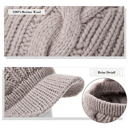 cd6b117b7b8 SIGGI 100% Merino Wool Newsboy Cap Winter Hat Visor Beret Cold Weather  Knitted