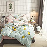 kele Cotton four-piece, Nordic Simple Cotton Bedding set, 1 quilt cover, 1 sheet, 2 pillow cases - 4 piece-A Queen1