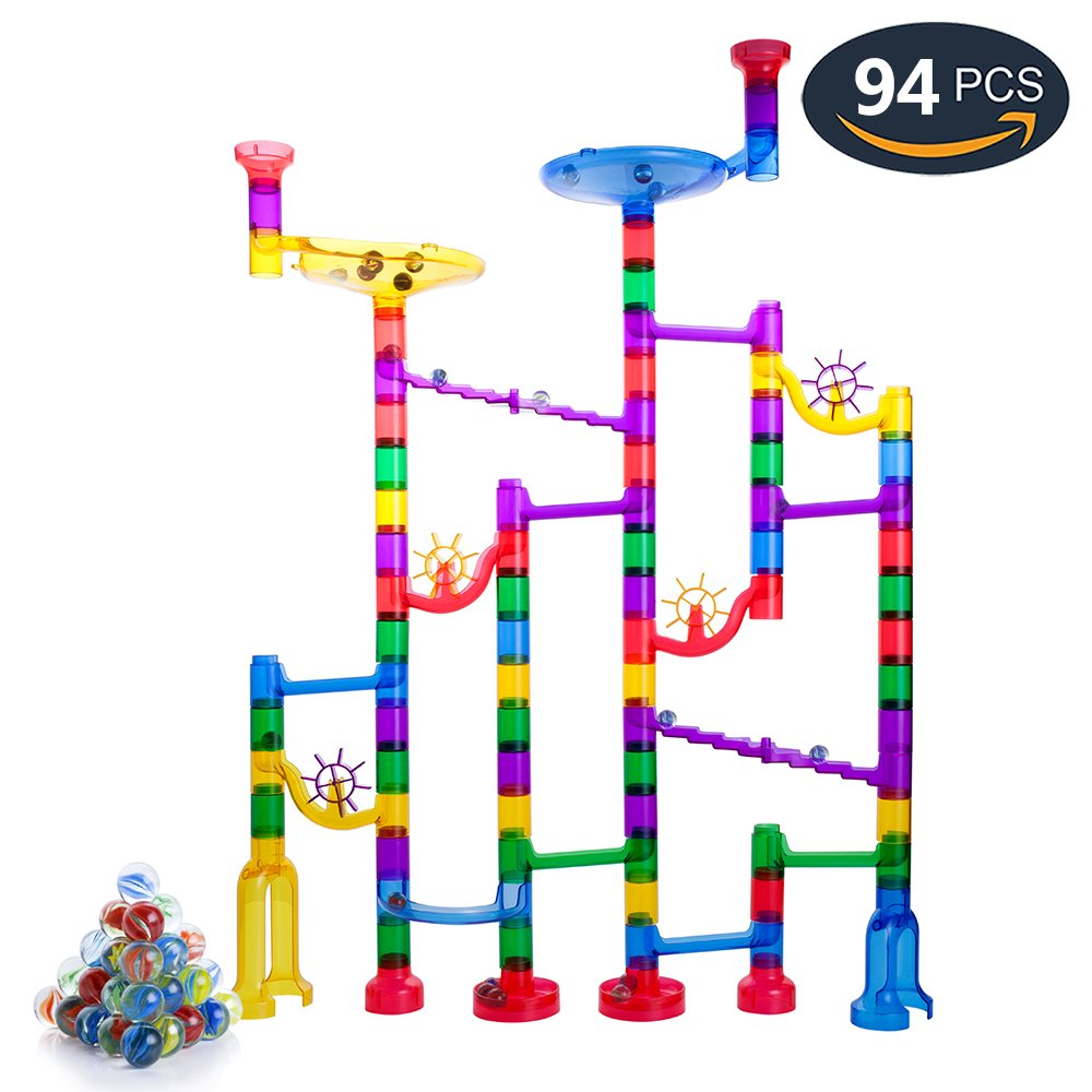 Marble Run Toy, Gifts2U 94PCS Marble Track Regular Size, 74 Translucent Marbulous Pieces + 20 Glass Marbles, Marble Race Game STEM Building Blocks Toy Marble Maze for Kids Age 4+