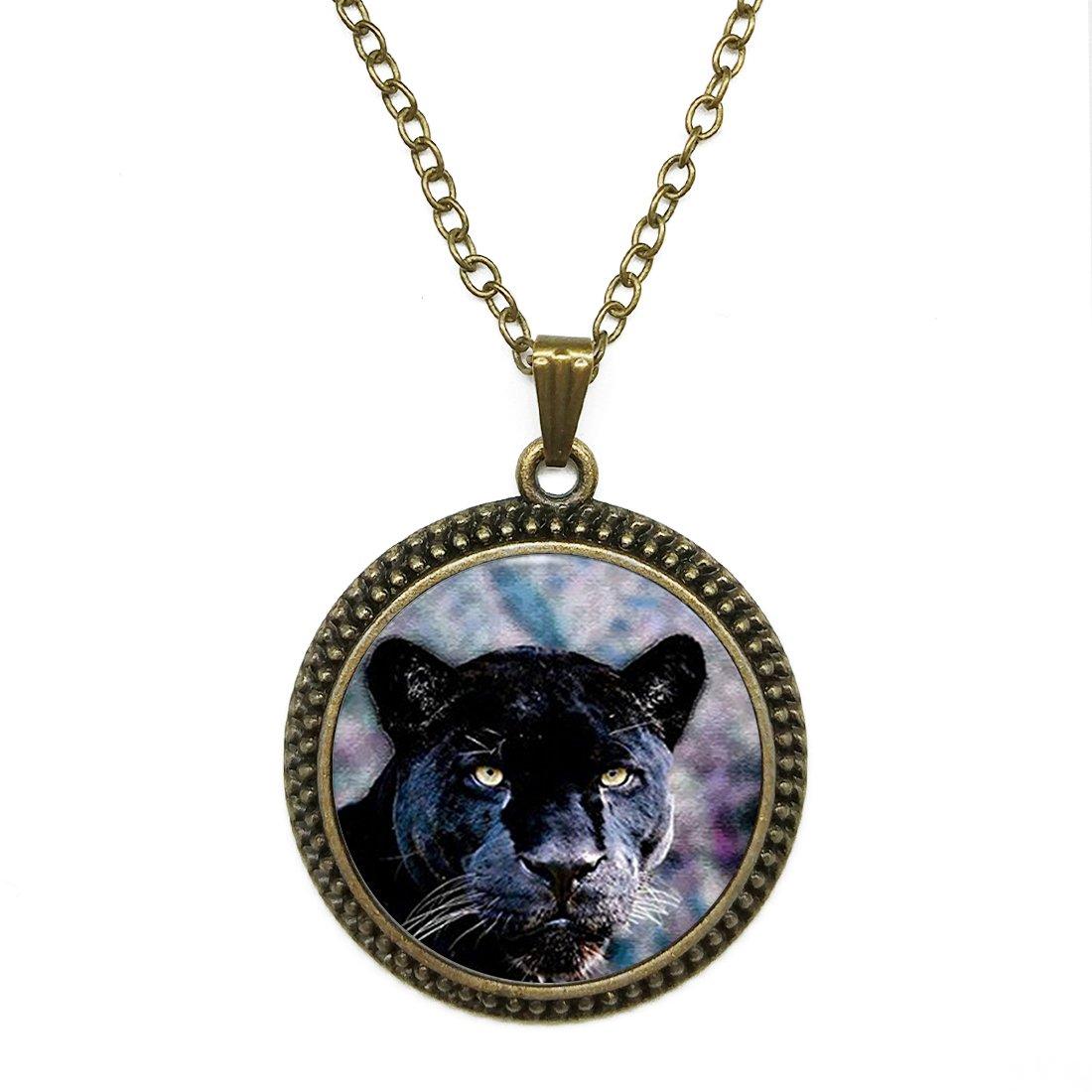 Fashion Necklace Pendant Jewelry Black Panther Vintage Glass Dome Cabochon Steampunk Bronze Necklace