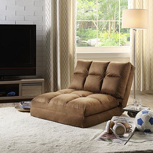 - Loungie Micro-Suede 5-Position Adjustable Convertible Flip Chair, Sleeper Dorm Bed Couch Lounger Sofa, Brown