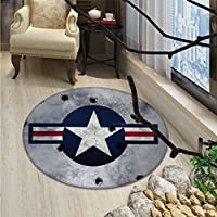 Airplane Round Rugs Army Logo USAF Star Round on Grunge Bullet Holes Aircraft Artwork PrintOriental Floor and Carpets Red Grey Blue White