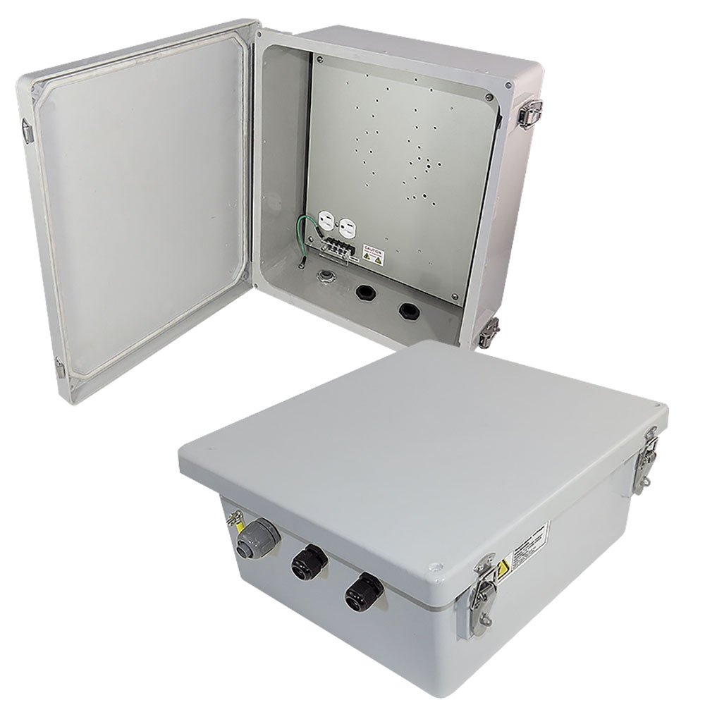 Altelix 14x12x6 Fiberglass Weatherproof NEMA Enclosure with 120 VAC Power Outlets and Aluminum Equipment Mounting Plate
