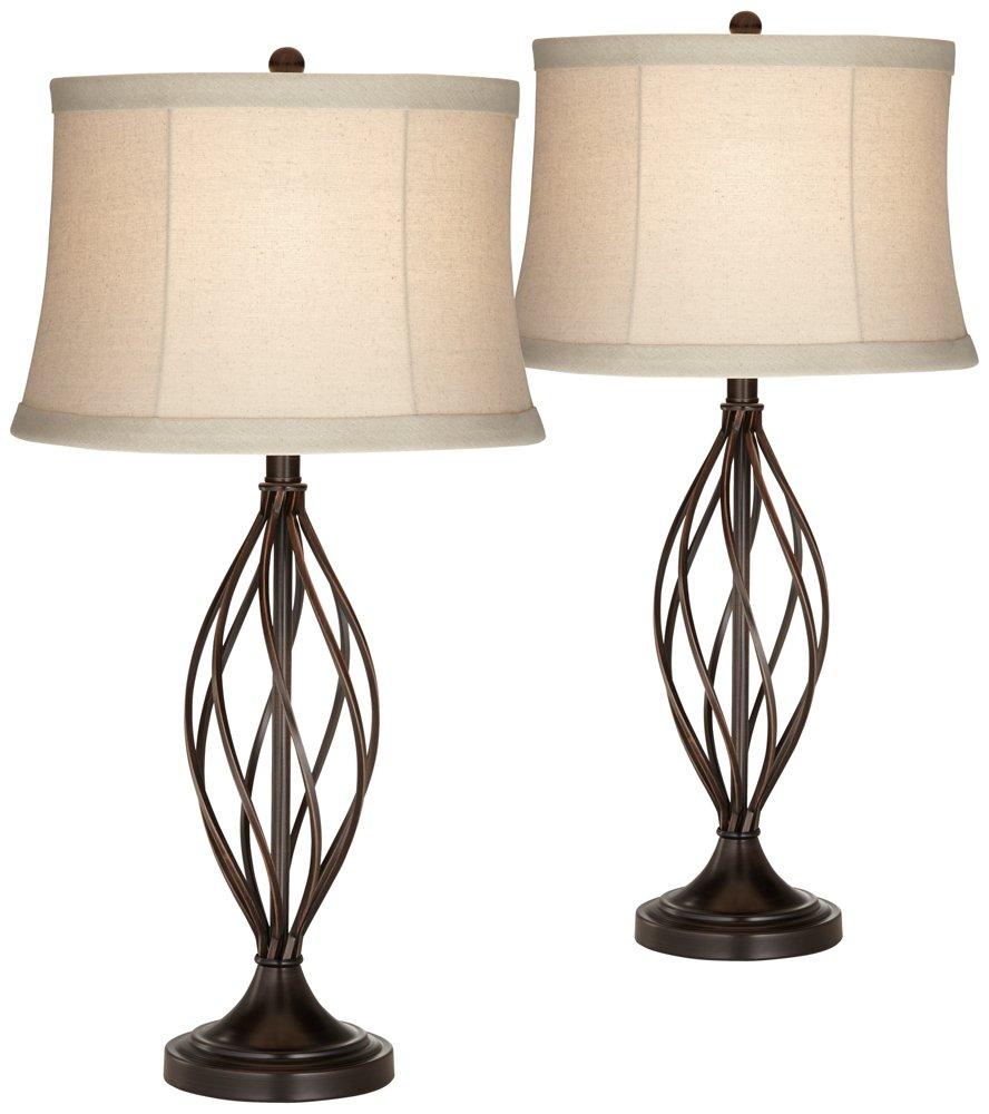 Liam Iron Twist Bronze Table Lamp Set of 2