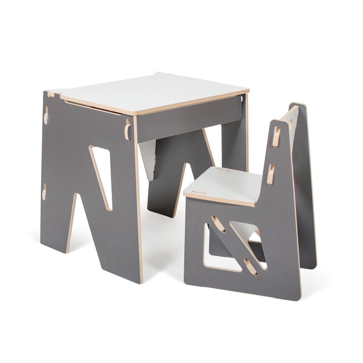 Grey Modern Kids Desk and Chair with Storage, American Made