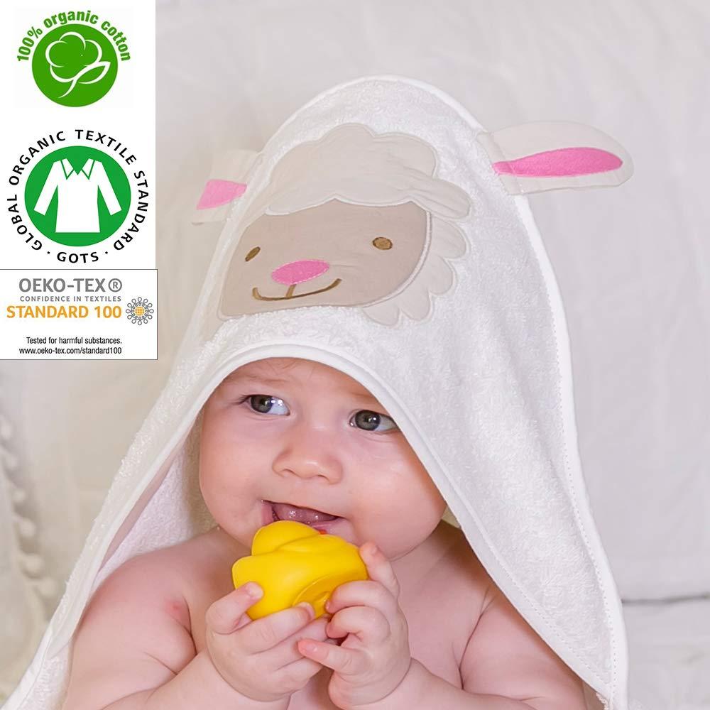 Asciugamano organico con cappuccio, al 100% certificato GOTS, adatto per neonati e bambini fino a 2anni, dimensioni: 75cm x 75cm, da 400g/m², in spugna, motivo: pecora con dettagli color rosa ideorganic