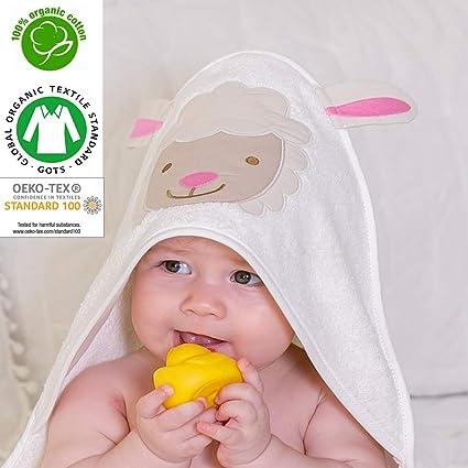 Toalla con capucha para bebé orgánica, 100% certificada por GOTS, apta para recién nacidos y hasta 2 años de edad, tamaño 75 cm x 75 cm, 400 ...