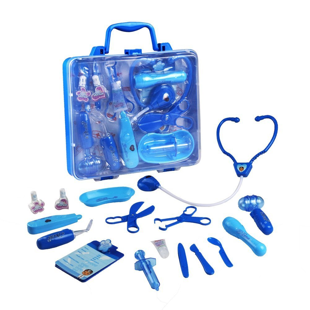 Doctors Set Game Medical Carrycase Role Play Pretend Toys for Kids over 3 Years Old XINJIA TOYS 602E blue