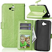 Huawei Y6 Pro Case,YiLin [Stand Feature] Flip Premium PU Leather Stand [Wallet Case] With Built-in ID Credit Card / Cash Slots Cover for Huawei Y6 Pro /Honor Play 5X / Enjoy 5 5.0 Inch Smartphone [Green]