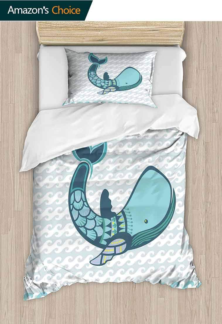 Whale Decor Custom Made Quilt Cover and Pillowcase Set, Happy Big Smiling Cartoon Huge Whale with Modern Ornamental Design Artwork, Decorative 2 Piece Bedding Set with 1 Pillow Sham Blue and White