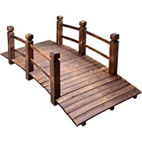 MAXXPRIME 5 ft Wooden Garden Bridge Arc Stained Finish Footbridge with Safety Railings for Backyard, Decorative Pond Bridge, Stained Wood