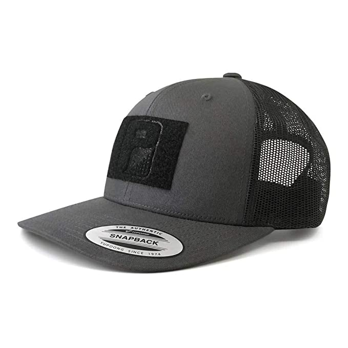 Pull Patch Tactical Hat Authentic Snapback, Charcoal & Black Trucker Curved  Baseball Cap, Hook & Loop Fastener With FREE US Flag Patch