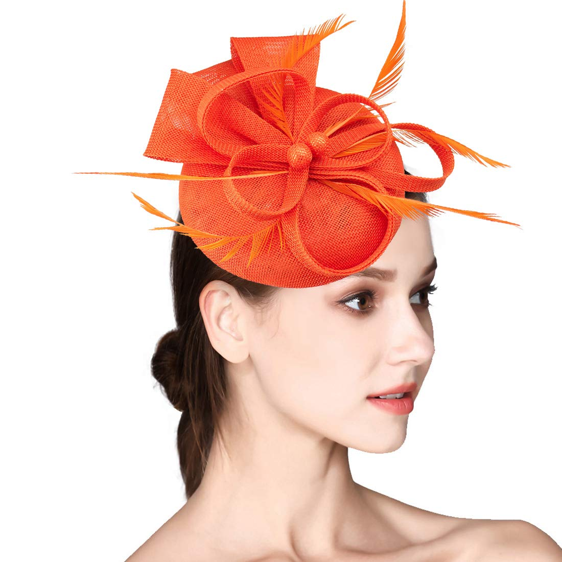 Sinamay Fascinator Flower Feather Fascinator for Women Pillbox Hats for Royal Wedding Deryby Party