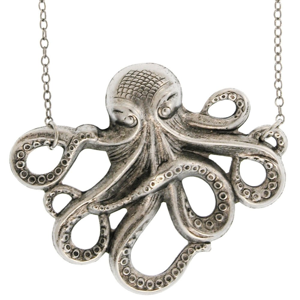 ocean themes sea large green necklace silver pendant glass octopus