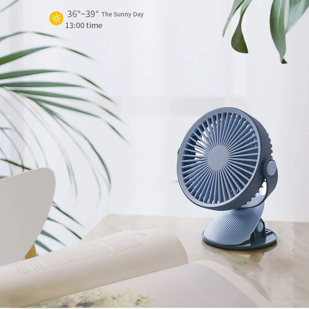 Mini USB Table Desk Personal Fan Clip Fan Handheld with USB Rechargeable Battery Operated Cooling Electric Fan for Office Room Metal Design Quiet Operation USB Cable Fan