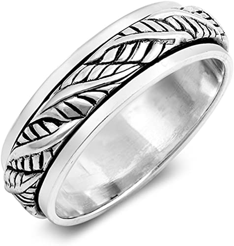 Oxidized Spinner Weave Knot Rope Wedding Ring Sterling Silver Band Sizes 7-13