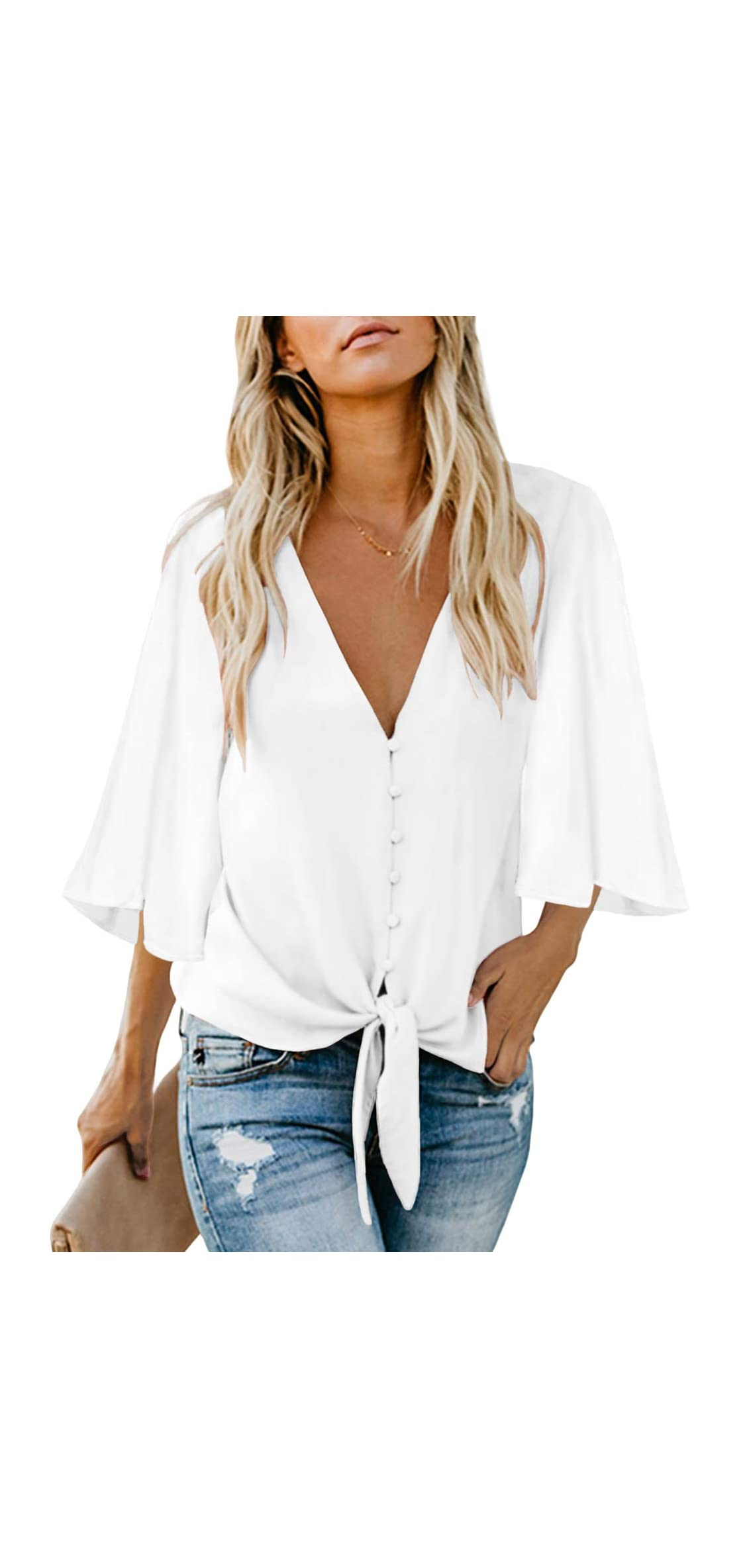 Womens Button Down V Neck Tops Ruffle Short Sleeve Tie