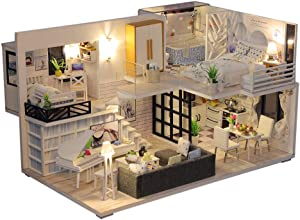 66toys 3D Wooden Miniature Dollhouse with Furniture,DIY Doll House Kit Handmade Mini Plus Duplex Apartment Home Model with LED Lights,Puzzle Creative Gift Toys for Children (Without dust Cover)