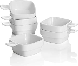 Sweese 116.001 Porcelain Square Dipping Bowls Sauce Dishes - 3 Ounce for Soy Sauce, Ketchup and Seasoning - Set of 6, White