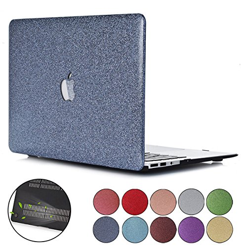 (PapyHall MacBook Pro 13 inch Case, Colored Glitter Design Plastic Hard Case Bling Crystal Rubberized Coated Hard Cover Case for Apple Macbook Pro 13 inch : A1278 - Gray)