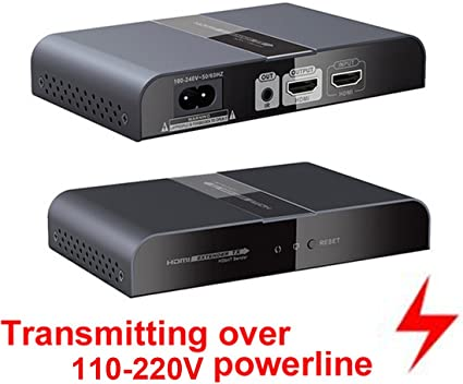 Up to 300m//984Ft HDbitT HDMI over Powerline Extender Transmitter Converter
