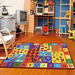 "Furnish my Place 3' x 5' Kids ABC area rug Educational Alphabet Letter & Numbers Multicolor Actual size 3'3"" x 5"" anti skid"