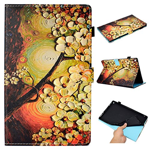 LMFULM? Case for Amazon Fire HD 10 2015 / 2017 (10,1 Inch) PU Leather Ultra-Thin Magnetic Closure Folding Leather Case Retro Magnolia Pattern of Bookstyle Auto Sleep / Wake Function Card Slot and Sten Color-26