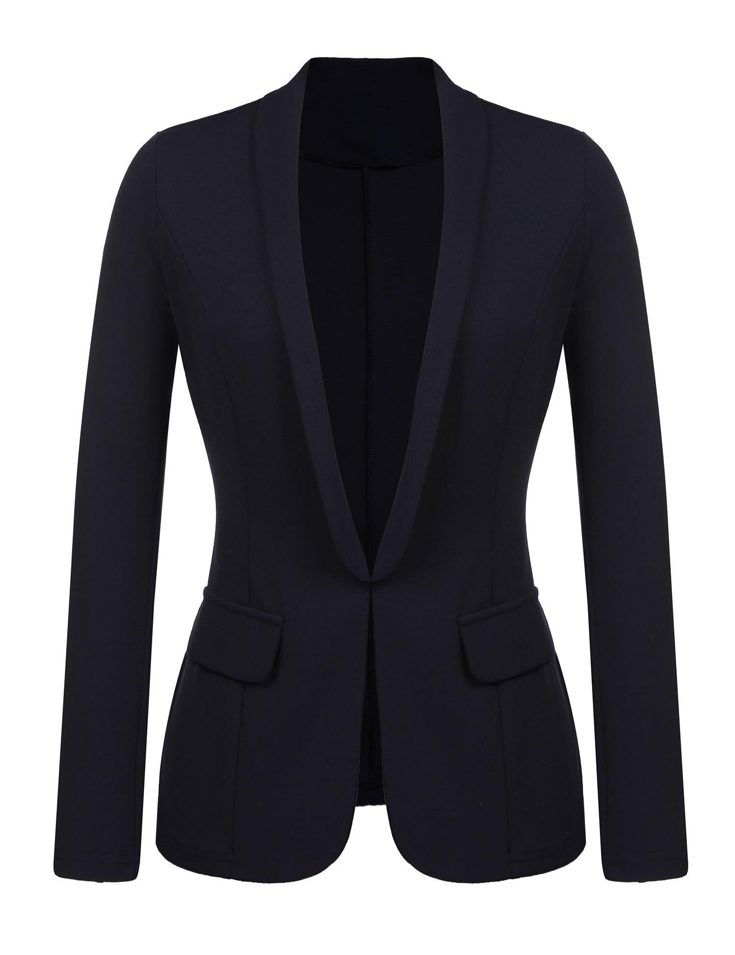 Kaimu Women's Casual Long Sleeve Open Front Blazer Work Office Cardigan Classic Jacket Suit
