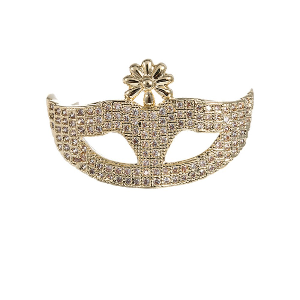 K155 Brooch Pin, Gold Tone Rhinestone Mask Brooches For Women Man Christmas,New Year Personality Gifts