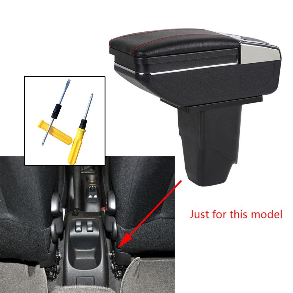 Pour 2006-2013 P eugeot 206 207 Voiture Accoudoir Accessoire Avec porte-gobelet Cendrier amovible Noir
