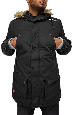Ecko Mens Boys Pilot Parka Puffer Padded Hooded Winter Jacket Hip Hop (XL, Black