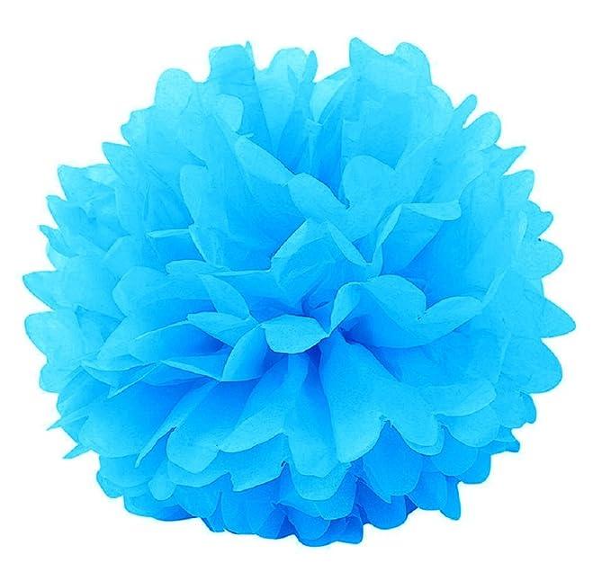 Gosear 10 Piezas Bola de Flores de Pompones de Papel para Decoración de Cumpleaños Fiesta de Hogar Fiesta de Boda,Color Sólido Azul