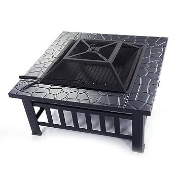 z ZTDM Metal Fire Pit 32 Inch Square Cuadro con Poker, tapa de malla,