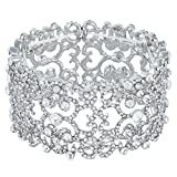 #9: EVER FAITH Women's Austrian Crystal Bride Heart Art Deco Elastic Stretch Bracelet Clear