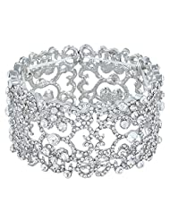Ever Faith Silver-Tone Austrian Crystal Bridal Lots Heart Shape Stretch Bracelet Clear N04581-1