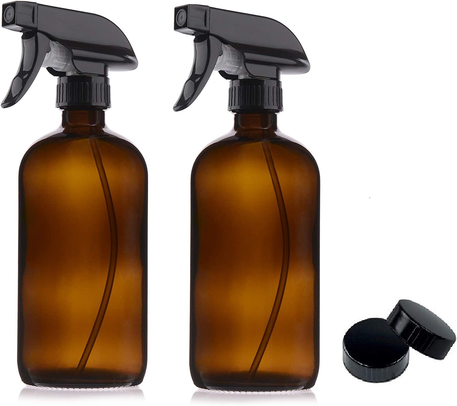 2 Pack Amber Glass Spray Bottles 16oz & Caps - Mist & Stream Sprayer - Boston Round Heavy Duty Bottle - Refillable for Essential Oils, Cleaning, Kitchen, Hair, Perfumes