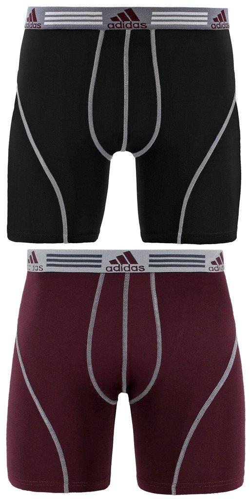 adidas Men's Sport Performance Climalite Boxer Briefs Underwear (2-Pack), Black/Light Onix/Dark Burgundy, Small/Waist Size 28-30