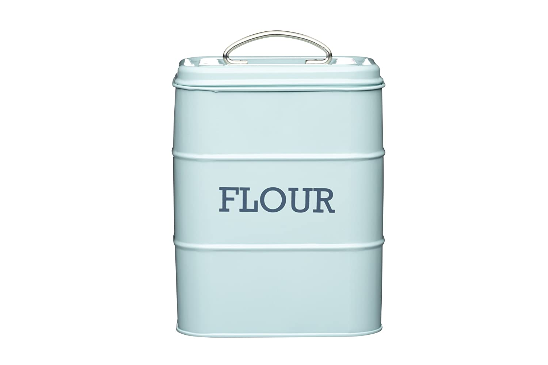 17 x 12 x 24cm Blue Living Nostalgia Flour Canister Kitchencraft LNFLOURBLU