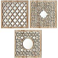Home Collection - Meubles, décoration - set de 3 miroirs muraux - Patron: Arabe - Style: ethnique - Couleur: naturel - 30 cm