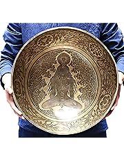 40Cm/15.7Inch Large Copper Tibetan Singing Bowl Set, with Bowl Mat and Felt Mallet, Hand-Carved Yogi Large Sound Bowl for Meditation and Mindfulness