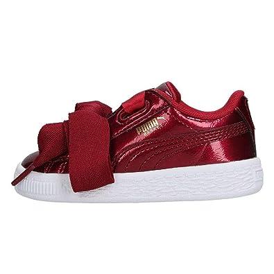 Puma Basket Heart Glam Infants Trainers Black Burgundy Girls Shoes (7 UK  Child ffff68298